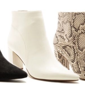 New Qupid Sleek Pointed Toe White Heeled Bootie